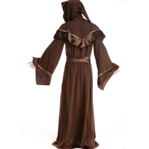 Classic Brown Long Hoodies Dress Men Witch Costume