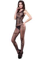 Enticing Women Open Crotch One Piece Body Stocking Black Fishnet Bodysuit