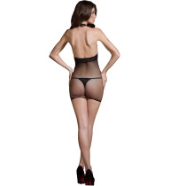 Lure Open Front Halter Neck Sexy Stocking Lingerie Women Sexy Full Body Stocking