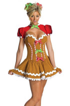 Playful Yellowish Brown Women Gingerbread Dress Costume