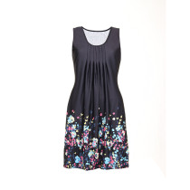 Flower Print Black Plus Size Casual Dresses Sleeveless