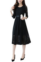 Glamorous Autumn Black Flowy Waist Ribbon Dress Long Sleeves