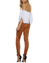 Suede Brown Crossover Straps Pants Broken Leg Long Length