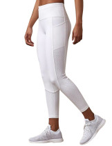 White Middle Waist Honeycomb Mesh Workout Legging With Stylish Design
