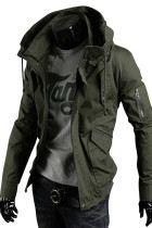 Winter Army Green Men Outdoor Jacket Drawstring Large Size