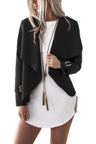 Fashionable Black Irregular Collar Short Coats With Buckle