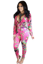 Red Tie Front Boho Long Sleeve Floral Print 2 Piece Suit