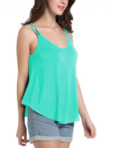 Passionate Double Straps Pleated Light Blue Tank Top Weekend Time