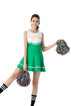 Enthusiastic Green And White Sport Cheerleader Costume Dress