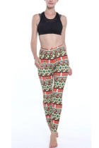 Slim Geometric Pattern Brushed Active Pants Elastic Waistband