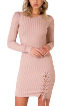 Autumn Pullover Bodycon Pink Knitted Sweater Dress Left Side Lace Up