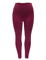 Basic Boutique Wine Red Bowknot Decor Obi Workout Tights Ankle Length