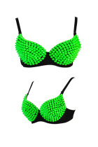 Fluorescent Green Rivets Punk Corsage