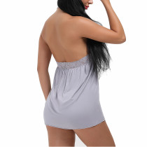 Alluring Grey Hip Length Chemise With Round Lace Neckline