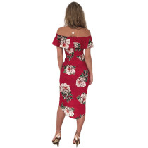 Off The Shoulder Ruffle Flower Printed Midi Dress Slit