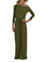 Affordable Solid Army Green Maxi Length Detachable Sash Dress