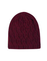 Suitable Wine Red Stretchy Knit Winter Beanie Warm Lining