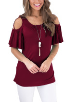 Purplish Cold Shoulder T-Shirts Flounce Sleeve Red Cross Straps