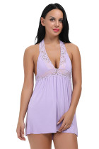 Quiet Purple Open Back Chemise Deep V Neck Lightweight