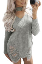 Stretchable Grey Cold Shoulder Knitting Dress High Neck Ripped Side