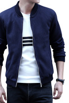 Autumn Blue Men Baseball Jacket Long Sleeves Large Size