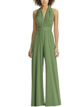Casual Ankle-Length Light Green Jumpsuit Open Back Plunge Neck Ultra Hot