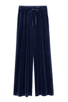 Relaxed Fall Dark Blue Plus Size Palazzo Pants High Waist
