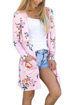 Adorable Pink Full Sleeves Side Pockets Printing Coat