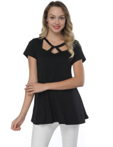 Black Hollow Out Round Neck Shirts Short Sleeves Streetstyle