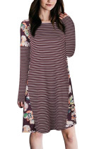 Contouring Autumn Wine Red Striped Dress Flower Print Long Sleeves