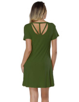 Fabulously Cut Out Army Green Mini Length Dress Round Collar All-Match Style