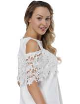 White Floral Lace Mini Dress Cold Shoulder For Streetshots