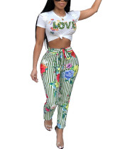 Creative Stripe Cropped Green Pants Two Piece Printing Fashion