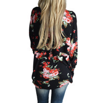 Fashionable Black Asymmetrical Trim Floral Coat Open Front