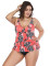 Tropical Light Orange Floral Bowknot Plus Two Piece Swimwear Fashion