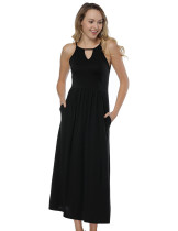 Black Cut Out Maxi Length Sleeveless Dress Ultimate Comfort