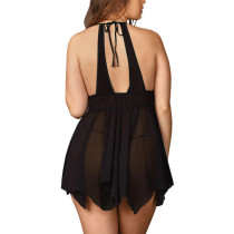 Sultry Black Mesh Body Babydoll Plunge Neck Plus Size