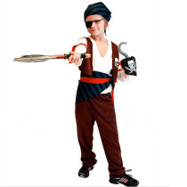 Halloween Brown Kids Pirate Outfit Costume With Striped Headband