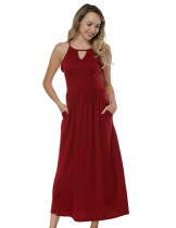 Red Spaghetti Strap Maxi Dress Seamed High Waist Form Fit