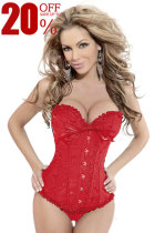 Glamourous Floral Overbust Lace Trim Hook Eye Boned Corset