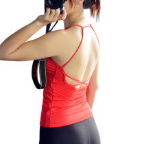 Ultimate Fit Red Yoga Camisole Tops Open Back Plunge Neckline