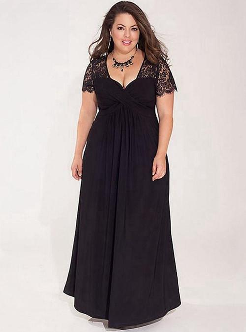 Black Plus Size Maxi Evening Dress With Lace Sleeve