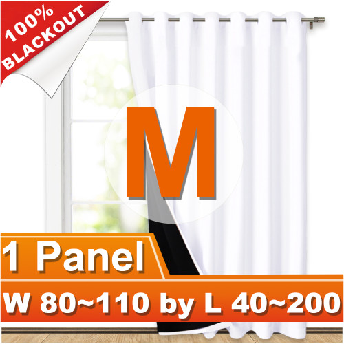 NICETOWN 100% Blackout Grommet Thermal Insulated Curtain,Width 80-110 Inch, Length 40-200 Inch, Sold as 1 Panel.