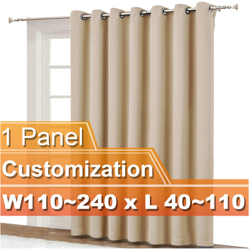NICETOWN Wide Grommet Blackout Curtain,Width 110-240 inch, Length 40-110 inch, Sold as 1 Panel.