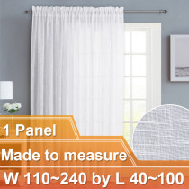 NICETOWN Customized Faux Linen Rod Pocket Sheer Curtains for Bedroom Living Room, W110~240 by L40~100, Inches, 1 panel