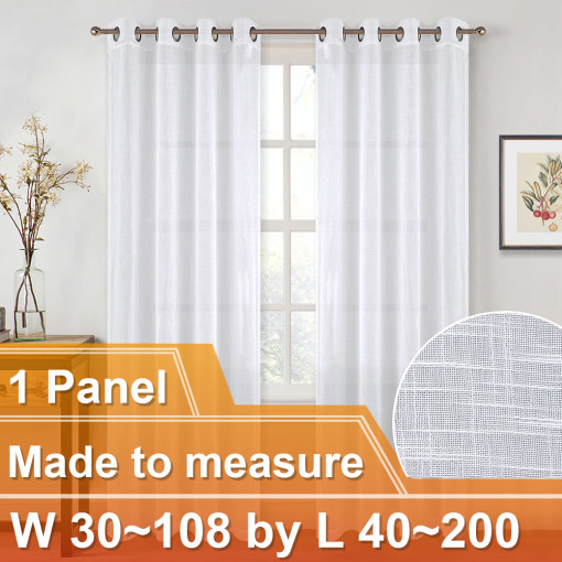 NICETOWN Customized Faux Linen Grommet Top Sheer Curtains for Bedroom Living Room, W30~108 by L40~200, Inches, 1 panel