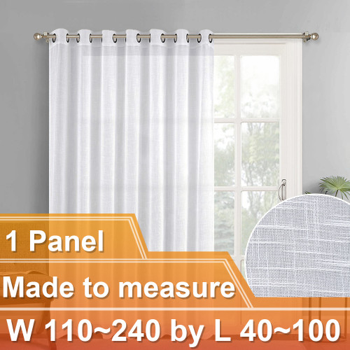 NICETOWN Customized Faux Linen Grommet Top Sheer Curtains for Bedroom Living Room, W110~240 by L40~100, Inches, 1 panel