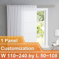NICETOWN Sheer Curtain Panels Light Weight Rod Pocket Drapes, Customize Inch, W110~240 by L40~108, 1 Panel.