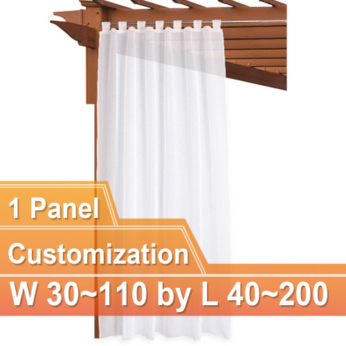 NICETOWN Custom Top Tab Outdoor Sheer Voile Curtain Panel, 1 Panel with Rope Tieback, 30~110 Wide by 40~200 Inch Long, White
