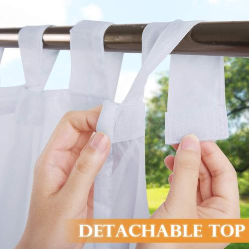 NICETOWN Detachable Sticky Tab Top Outdoor Indoor Sheer Curtain for Patio/Cabana, Privacy Voile Light & Airy Panel for Pavilion/Farmhouse, 1 Free Rope, Wide 54 inches